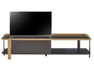 Low lacquered wood veneer TV cabinet POSTMODERNE | TV cabinet