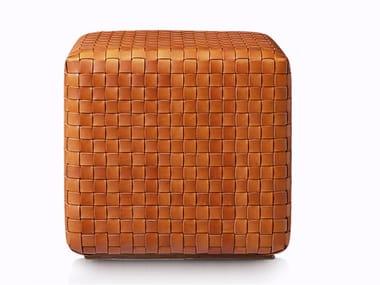 Square tanned leather pouf POUF DAMA