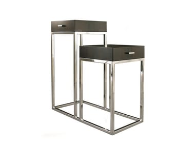 Steel and wood side table PRADERE