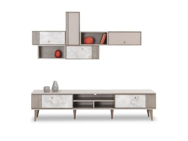 Sectional lacquered wooden storage wall PRAGA   Storage wall