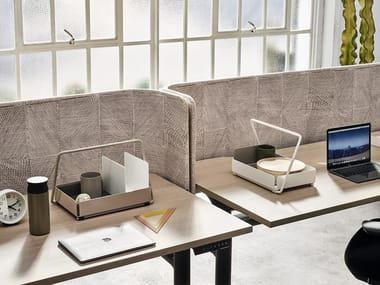 Sound absorbing fabric desktop partition PRECINCT WORKTOP MOUNTED SCREENS