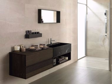 Wall-mounted oak vanity unit with mirror ICON - ROBLE CARBON