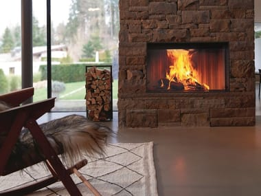 Wood-burning Fireplace insert with Panoramic Glass PREMIUM V-M80H