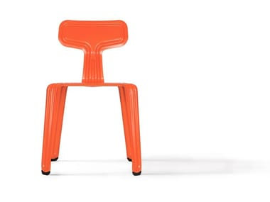 Stackable powder coated aluminium chair PRESSED CHAIR   Stackable chair