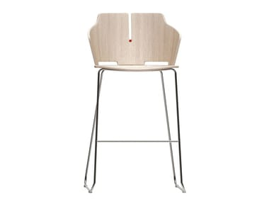 High sled base stool with back PRIMA | Sled base stool