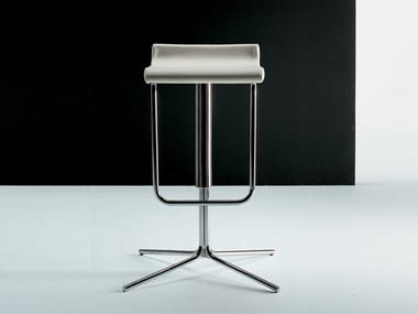 High leather stool with 4-spoke base with footrest PRINCE | Stool with 4-spoke base