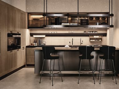 Stainless steel and wood kitchen with island PRINCIPIA - CONVIVIUM