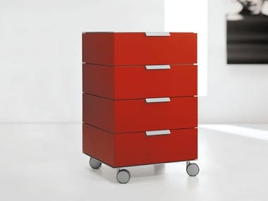 Modular wooden chest of drawers with casters PRISMA | Chest of drawers with casters