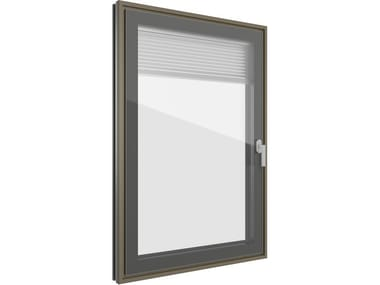 Aluminium and wood window with built-in blinds FIN-PROJECT CLASSIC-LINE CRISTAL TWIN | Aluminium and wood window