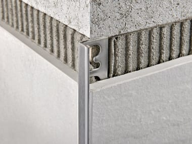 Brushed steel edge profile for walls PROTERMINAL STEEL