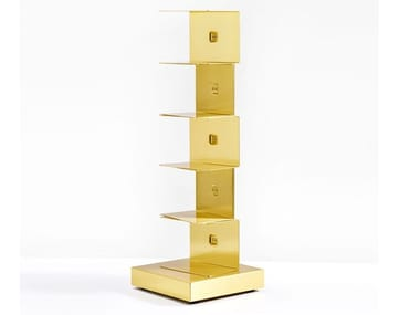Open freestanding brass bookcase PTOLOMEO GOLD | Bookcase