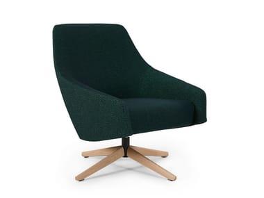 Swivel fabric armchair PUK LOW