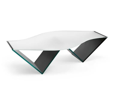 Glass coffee table with integrated magazine rack PULSE