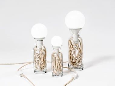 Direct light glass table lamp PULSE ECRU