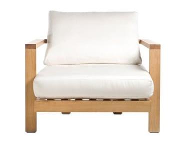 Fabric garden armchair with armrests PURE SOFA | Garden armchair