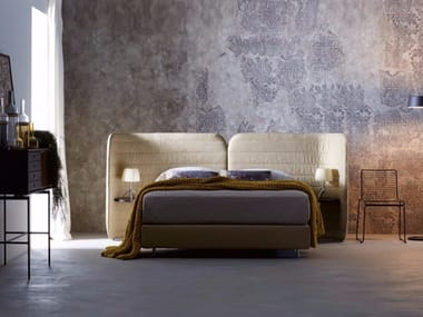 Upholstered fabric bed double bed CALM II