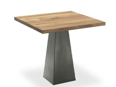 Square solid wood and iron table PYRAMID