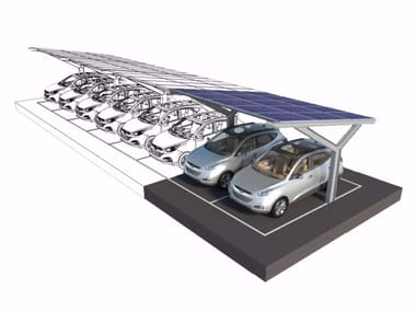 Steel porch with PV panels for parking areas Porches with Photovoltaic Panels