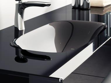 Lavabo ovale in vetro con piano Q.LINE | Lavabo con piano