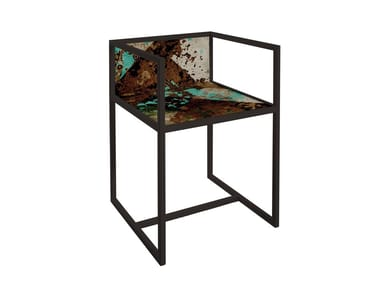 Painted metal chair with armrests QR-3A/3B