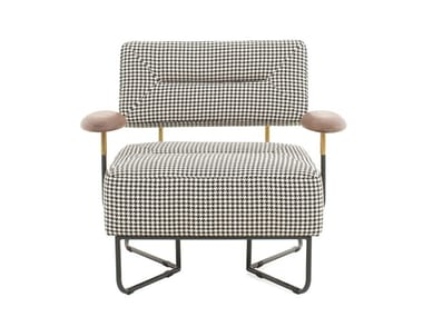 Upholstered fabric armchair with armrests QT CHAIR