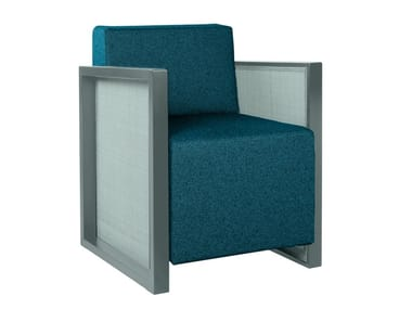 Sled base fabric easy chair with armrests QUADRA PO02