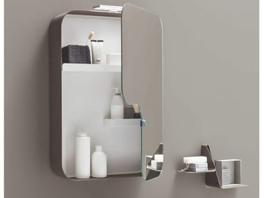 Rectangular wall-mounted mirror with cabinet QUADRA | Rectangular mirror