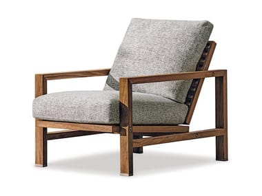 Teak garden armchair with armrests QUADRADO | Garden armchair