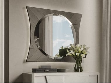 Round framed wall-mounted wooden mirror QUADRO | Mirror