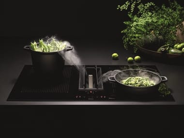 Induction built-in glass ceramic hob with integrated hood Class A + + QUANTUM