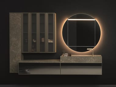 Wall-mounted vanity unit with mirror QUARI