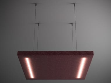Felt hanging acoustic panel with Integrated Lighting QUARTETTO | Hanging acoustic panel with Integrated Lighting