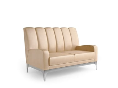 Contemporary style 2 seater upholstered leather sofa QUARTZ | 2 seater sofa