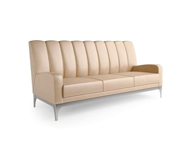Contemporary style 3 seater upholstered leather sofa QUARTZ | 3 seater sofa