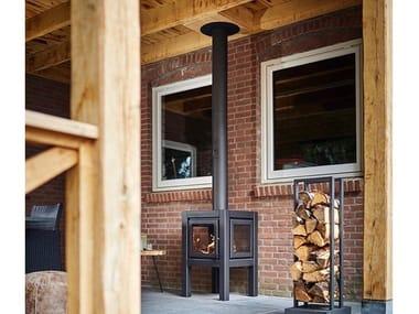 Freestanding outdoor wood-burning Corten™ fireplace QUARUBA BLACK