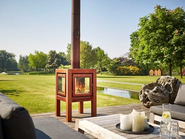 Wood-burning outdoor freestanding Corten™ fireplace QUARUBA L