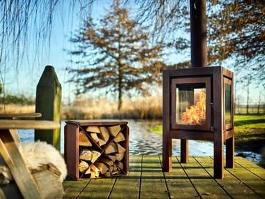 Wood-burning outdoor freestanding Corten™ fireplace QUARUBA XL