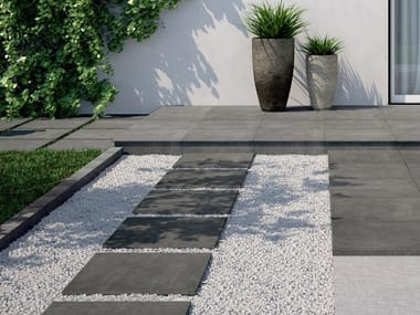 Full-body porcelain stoneware outdoor floor tiles with stone effect QUARZ DESIGN
