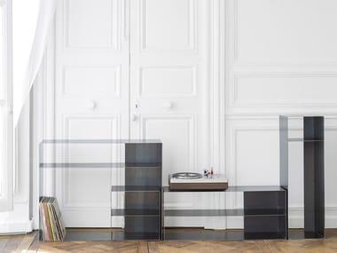 Steel TV cabinet / sideboard QUATTRO   Low TV cabinet