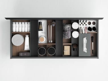 Drawer containers in metal, wood and Cristalplant® QUATTRO.ZERO | Drawers divider
