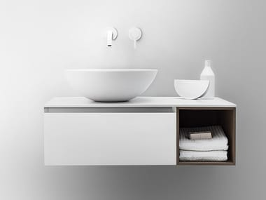 Lacquered wall-mounted vanity unit with drawers QUATTRO.ZERO | Vanity unit