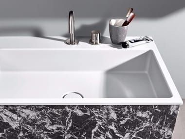 Lavabo da incasso soprapiano rettangolare in Corian® R1 | Lavabo da incasso soprapiano