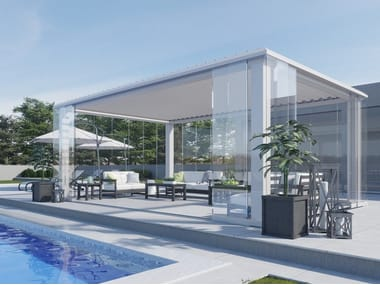 Freestanding aluminium pergola with adjustable louvers with built-in lights R608 PERGOSKY