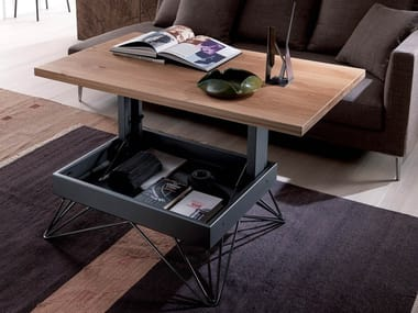 Height-adjustable wooden coffee table with integrated magazine rack RADIUS