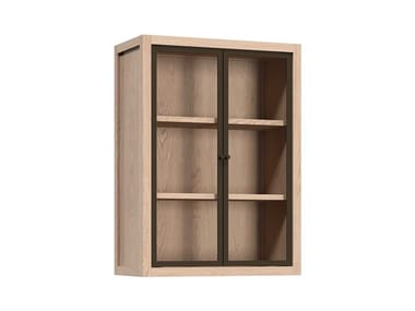 Wooden wall cabinet with glass door with shelves RADIX | Wall cabinet with glass door
