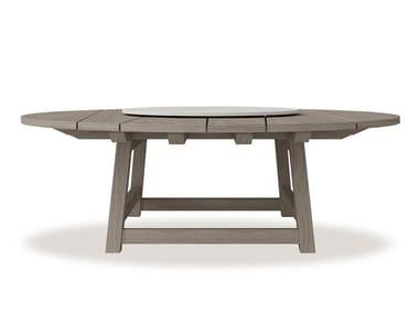 Round teak table with Lazy Susan RAFAEL   Teak table