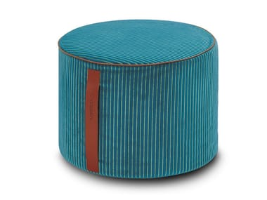 Pouf cilindro in velluto a coste bicolore RAFAH | Pouf rotondo