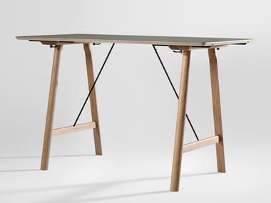 Rectangular solid wood office desk RAIL HIGH