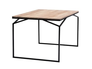 Rectangular steel and wood table RAK