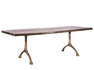 Rectangular solid wood table RANCH